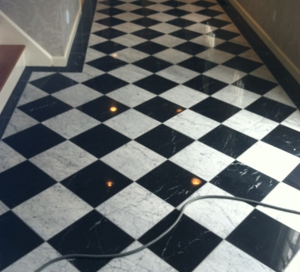 Black and White Marble Foyer Restoration, Newport, RI