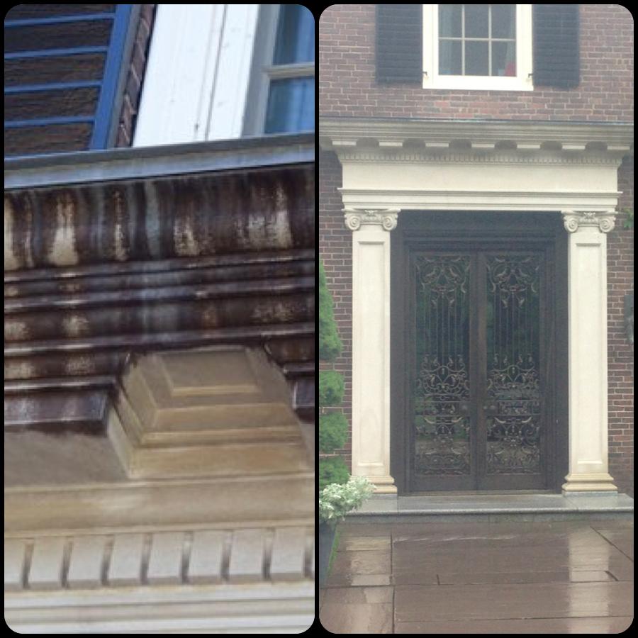 Exterior Limestone Pediment Stain Removal Boston Stone