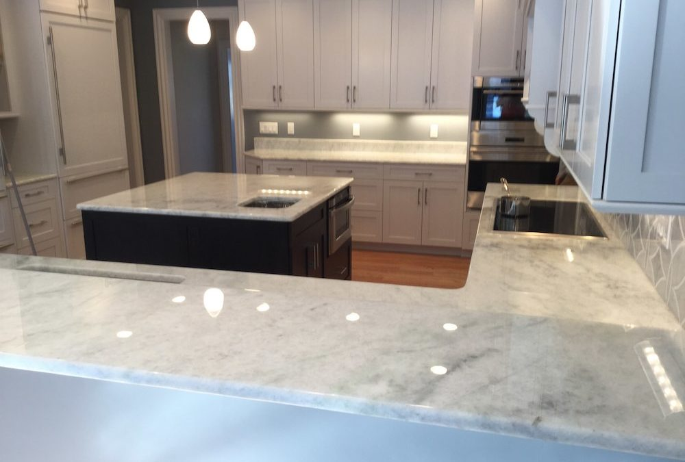 This Home's White Marble Countertops are Etch and Stain-Free for 10 Years!