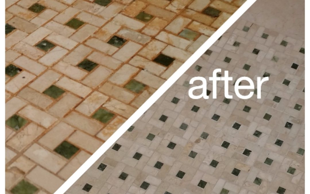 Dirty tile and grout gets a spring makeover
