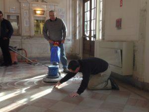 campus facilities marble floor hone then polish