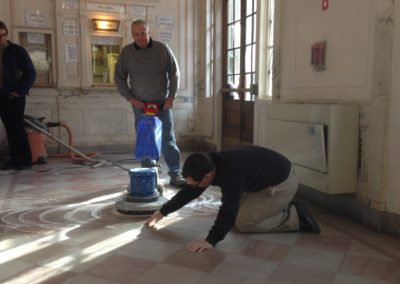 campus facilities marble floor hone then polish