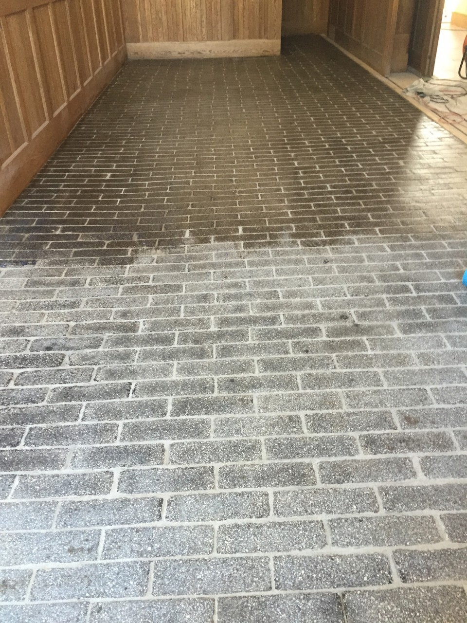 Restoring and polishing pavers in Newport, RI.