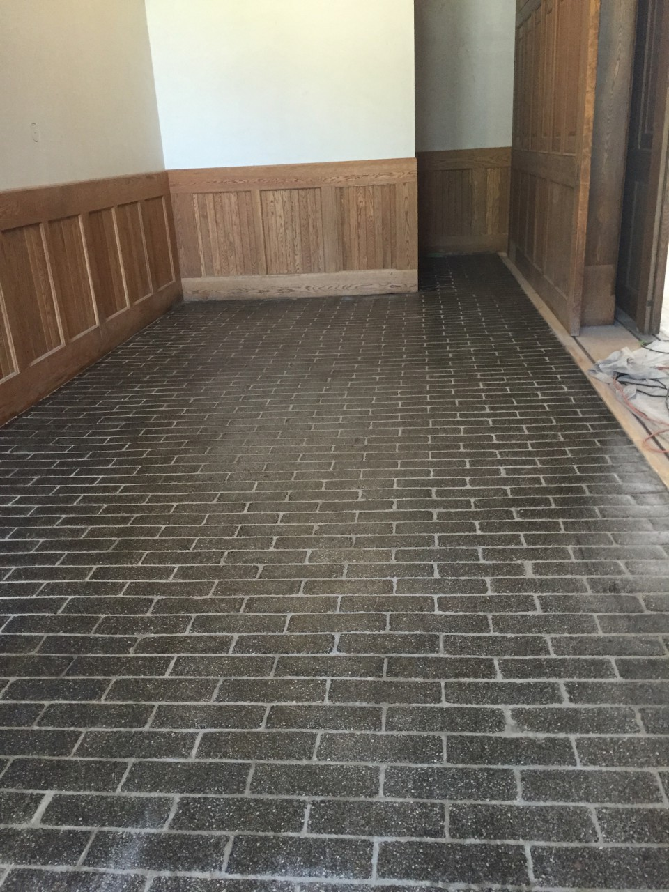 After shot of honed & polished stone pavers.