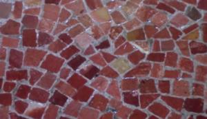 purple limestone mosiac floor