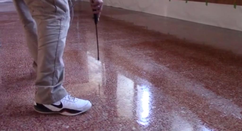 "Polishing a ""wavy"" limestone ballroom floor"