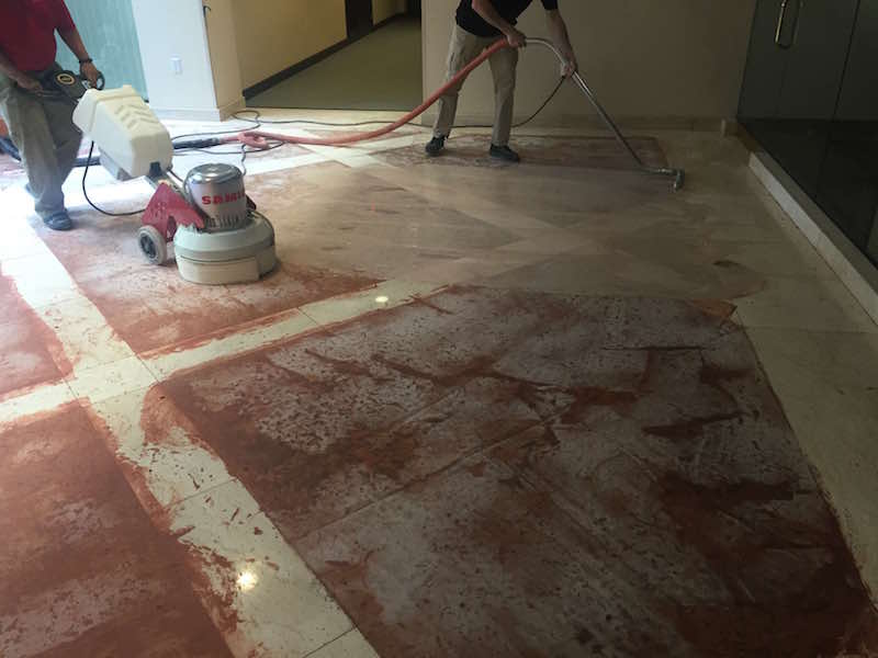 Salvaging a pitted Rosa Verona marble lobby floor