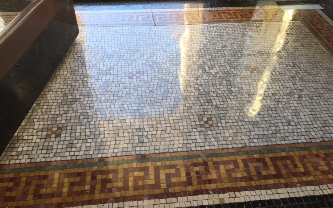 Historic mosaic floor restoration in Kingston, MA