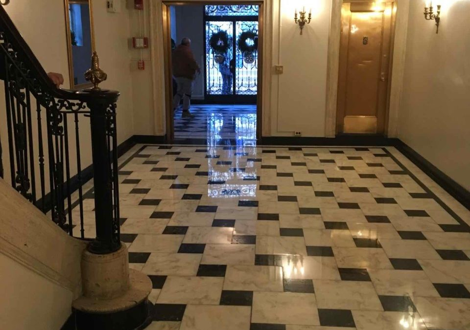 Back Bay Negro Marquina Marble Foyer Restoration