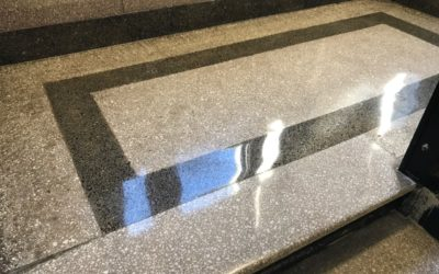 1909 terrazzo floor restored to a beautiful shine