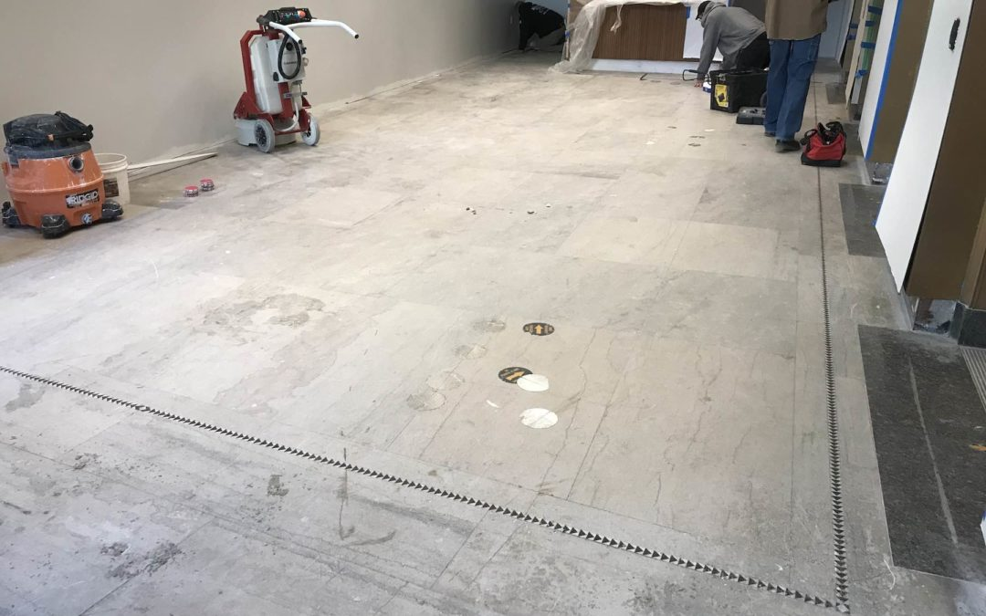 Damaged limestone floor restored in Boston