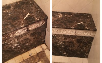 Carved marble edging before & after