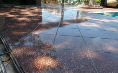 Fantastic red terrazzo pool deck restored