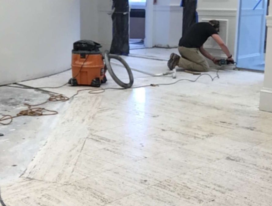 Historical Limestone Floor Restoration | Newburyport, MA