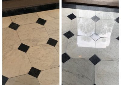marble tile poloshing before after