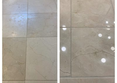 stone floor tile polish before and after
