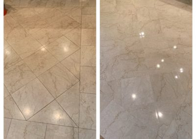 cream marble floor clean polish before and after