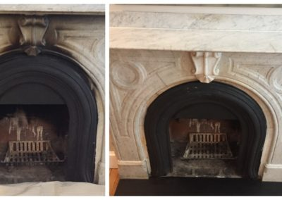 fireplace marble surround cleaning before and after